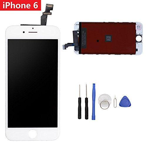 Screen Replacement LCD Display Compatible iPhone 6 4.7 LCD Touch Screen Digitizer Replacement Full Assembly with Repair Tool Kit for iPhone 6(White)