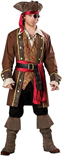 Man In A Box Costume - InCharacter Costumes Men's Captain Skullduggery Pirate Costume, Brown, Large