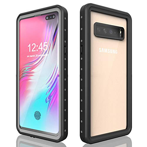 Samsung Galaxy S10 5G Rugged Clear Case, Waterproof Poetic Full-Body Hybrid Cover, Built-in Screen Underwater Shockproof Dustproof Case for Samsung Galaxy S10 5G 6.7 inch (2019), Black