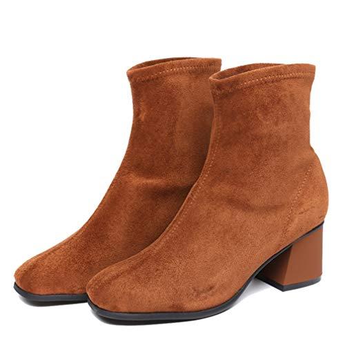 Drew Toby Women Booties Autumn Winter Plus Velvet Crude Heel Fashion High Heels ()