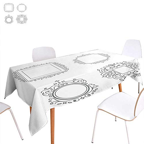 (longbuyer Christmas Tablecloth Flourishes calligraphic Monogram Rectangle/Oblong W 60