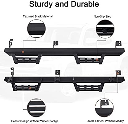 2 Pcs A/&K Running Boards Side Steps Nerf Bars for Toyota Tacoma Double Cab Crew Cab 2005-2020