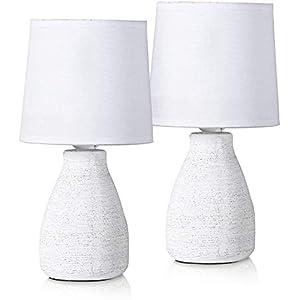 BRUBAKER – Lampe de table/de chevet – Lot de 2 – Design scandinave/moderne – Hauteur 28 cm – Pied en Céramique – Abat…