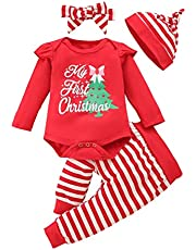 Newborn Baby Girl First Christmas Clothes Baby Elf Outfit Ruffle Pants for Infant Girl Xmas Clothing Set 0-18 Months