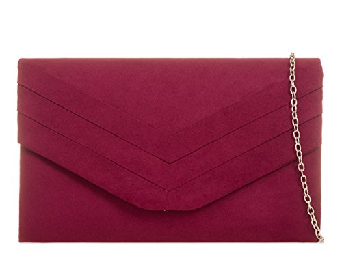 STYLISH EVENING Burgundy SUEDE WEDDING CLUTCH fi9® PARTY BAG STYLE PURSE ENVELOP BRIDAL HAND Zqdnq7wx