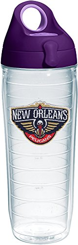 Tervis 1231061 NBA New Orleans Pelicans Logo Tumbler with Emblem and Purple Lid 24oz Water Bottle, Clear by Tervis