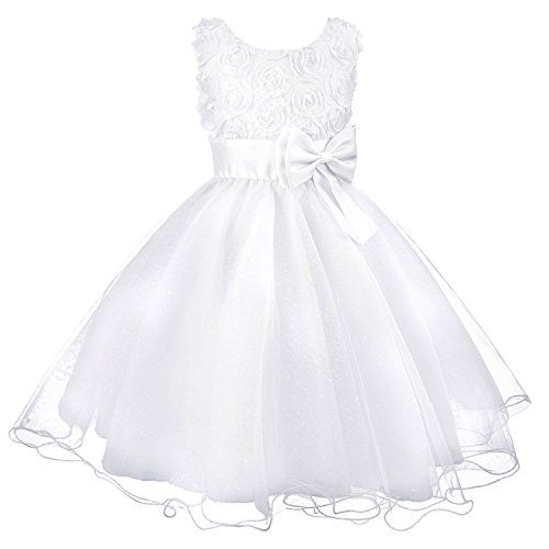 Acecharming Little Girls Flower Formal Wedding Bridesmaid Party Dress Size 8 (5-6 Years), White