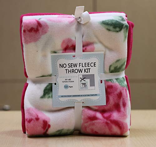 Pink Roses No-Sew Throw Fleece Fabric Kit (50x60)
