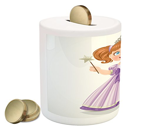 Princess Piggy Bank Tiara - Lunarable Princess Piggy Bank, Cute Little Girl with Gorgeous Dress and Tiara Holding Magic Wand Royalty, Printed Ceramic Coin Bank Money Box for Cash Saving, Purple Pearl Brown