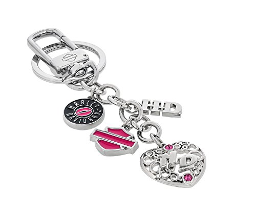 Harley Davidson Multi-Charm Key Chain Clip, Bar and Sheild, Heart and Crystals from Swarovski