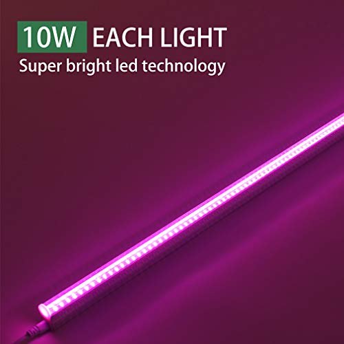 [6-Pack] LED Grow Light Strips for Plants 2FT, 60W (6 x 10W) t5 High Output Integrated Fixture Extendable 24 Inches Grow Lights for Greenhouse, Plant Grow Shelf, Easy Installation