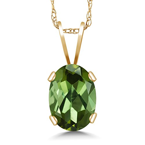 Gem Stone King 0.85 Ct Oval Green Tourmaline 14K Yellow Gold Pendant