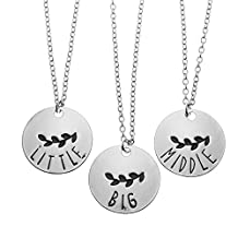 Family Jewelry Gift Big Middle Sister Little Sis Set of 3 Sisters Pendant Necklace for Sisters