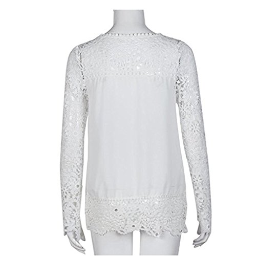 Chemise Creux Jardin Hauts Manches Femme Longues Rv Blouse Blanc Cou Dentelle Crochet lgant O yfwcafrx