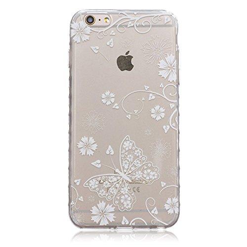 Meet de pour Apple iPhone 6 Plus / iphone 6S Plus Ultra Slim Flexible Transparent Soft Case / Housse / Portefeuille / Cover Étui / Housse étui - Fleur de papillon