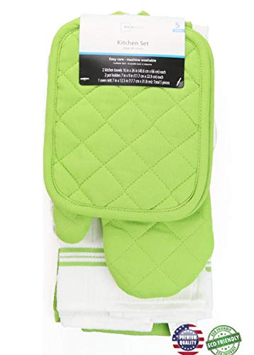- 5 piece kitchen towel set (Lime Green)