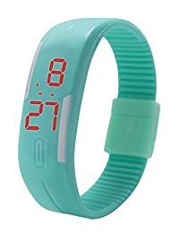 Gracefulvara Kids Boy's Girl's Young Fashion Thin LED Rubber Bracelet Digital Wrist Watch Mint Green