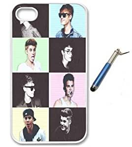 For Apple iPhone 4 4G 4S Collage Justin Bieber Cute Retro Vintage WHITE Sides Slim HARD Case Skin Cover Protector Accessory