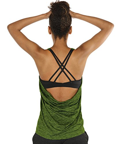 icyzone Yoga Tops Workouts Clothes Activewear Built in Bra Tank Tops for Women(S, Green) ()