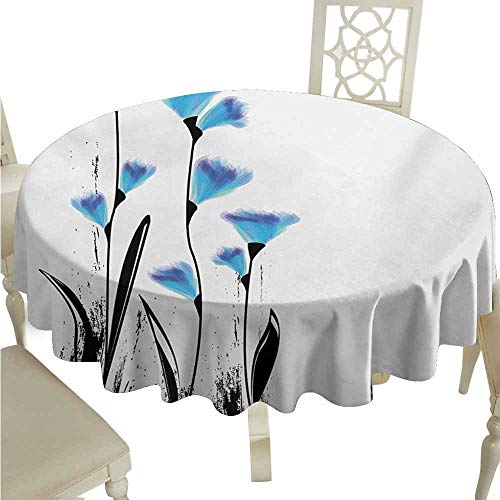 duommhome Floral Durable Tablecloth Vector Flowers Turkish Ottoman Tulips in Ombre Watercolored Image Easy Care D67 Sky Blue and Charcoal Grey ()