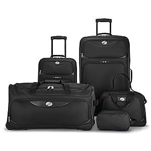 American Tourister 5 Piece Softside Luggage Set Black