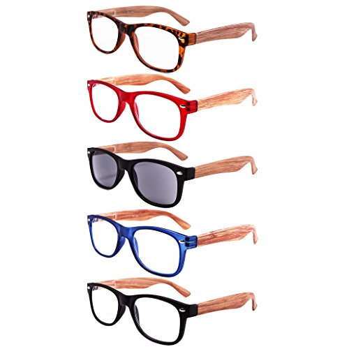 EYEGUARD 5 PACK UNISEX Wooden Looking Readers Spring Temples Including One Sun Reader UV 400 Protection - Wooden Reading Glasses