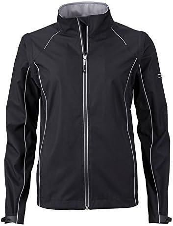 James & Nicholson Ladies' Zip-off Softshell Jacket Cappotto Donna Nero (Black/Silver Black/Silver)