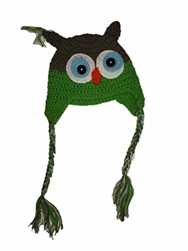 Lets Accessorize Boys Knit Owl Hat one size Red//Green
