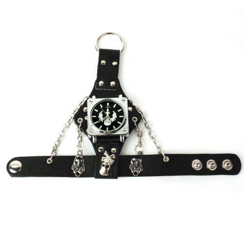 ALIENWOLF Unisex Punk Rock Skeleton Skull Black Leather Band Bracelet Bangle Wrist Watch
