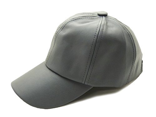Women's Solid Faux Leather Velcro Closure Adjustable Baseball Cap (Dark Grey)