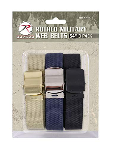 54 Inch Cotton Military Web Belt 3 Pack with Buckles