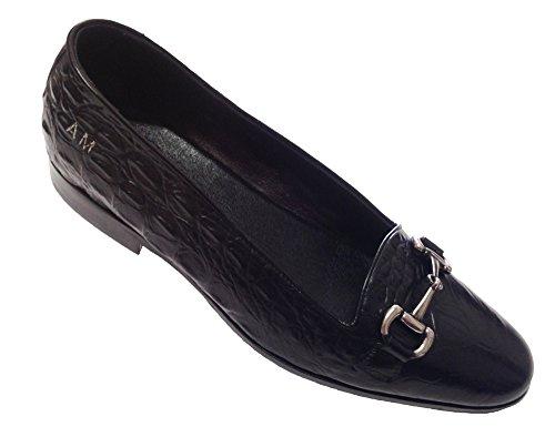 scarpe uomo mocassino in vitello stampa cocco nero con accessorio