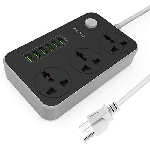 Power Strip with USB Ports 3 Outlets Surge Protector 6 Quick USB (5V 3.4A 17W) Universal Socket Charging Station 6.5ft Power Cord Circuit Breaker Child Safe Door(Black)