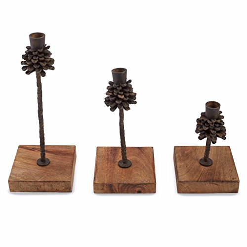 Taper Pinecone (Mud Pie Oak Leaf Collection Pine Cone Dimensional Taper Candle Holders Set of 3)