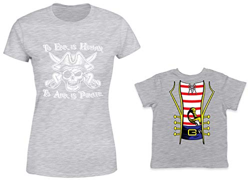HAASE UNLIMITED to ERR is Human/Pirate Costume 2-Pack Toddler & Ladies T-Shirt (Lt. Gray/Lt. Gray, Small/3T) ()