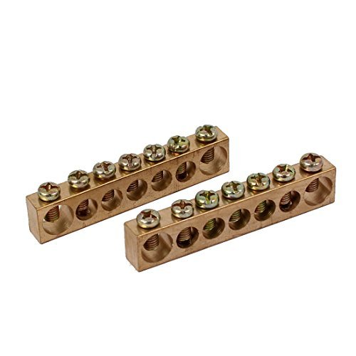 DealMux 7 Positions 7mm 10mm Dia Wire Screw Terminal Ground Copper Neutral Bar 2pcs DLM-B01M0357Q8
