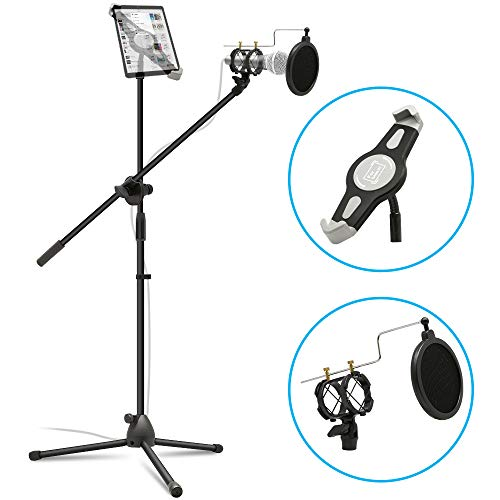 Microphone Stand Tablet Mount, Anko 2 in 1 Adjustable Mic Stand with iPad Holder/Pop Filter for All 7-12 Inch Table Device
