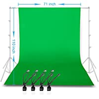 GLOSHOOTING 6 x 9 ft Photo Backdrop Green Chromakey Pure Cotton Muslin Photography Studio Background, 4 Pieces Clips