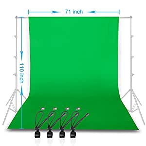 Emart Green Screen Backdrop, 6x9ft (1.8x2.8m) Chromakey Muslin Photography Background with 4 Clip Holders for Photo Studio Shooting,YouTube,Televison(Backdrop Stands Not Included)