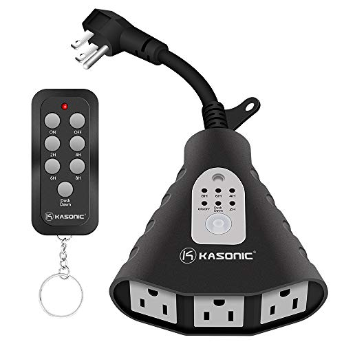 Kasonic Wireless Outdoor Remote Control Outlets with Timer and Sensor Function; 3 Outlets 100 Feet RF Range; ETL Listed Water Resistant for Outdoor Lights, Kitchen Appliances (Black)