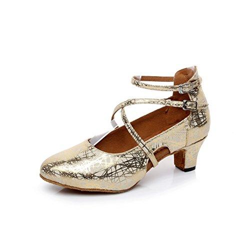 JSHOE Zapatos De Baile De Mujer Cuero Latino / Chacha / Samba / Moderno / Zapatos De Baile De Jazz,Gold-heeled5.5cm-UK7.5/EU42/Our43