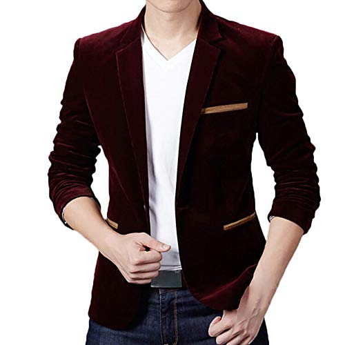 CUCUHAM Men's Autumn Winter Casual Corduroy Slim Long Sleeve Coat Suit Jacket Blazer Top(Red ,Medium)