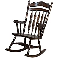 Coaster Wooden Rocking Chair in Dark Walnut Finish
