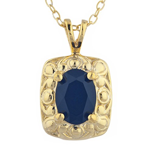 1.5 Ct Genuine Black Onyx Oval Design Pendant Necklace 14Kt Yellow Gold Rose Gold Silver ()