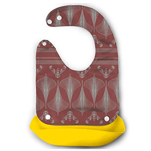 OURFASHION Viking Hulls Skirt Iron Red Silicone Bib Waterproof Adjustable Snaps Baby Bibs for Infants and Toddlers Unisex