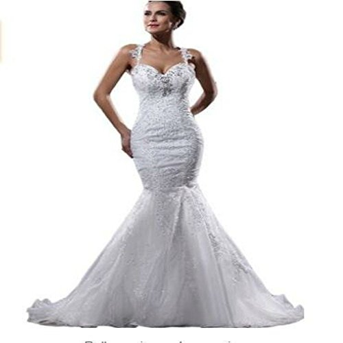 Yilian Women's Straps Applique Beading Organza Mermaid Court Train Wedding Dresses (10, ()