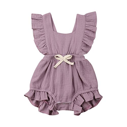 Newborn Kids Baby Girls Cute Color Solid Tassels Romper Bodysuit Jumpsuit Infant Clothes Outfits 3M-24M Purple
