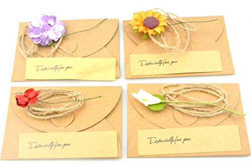 "Maydahui Vintage Kraft Handmade Greeting Wish Card with Dried Flower,Hemp Rope,Envelope Used as Thank You Notes,Party Invitation Card (Pack of 40,Small - 4"" X 3"")"