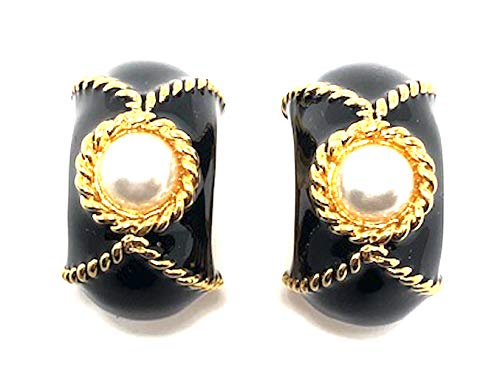 Kenneth Jay Lane, Gold and Black Enamel Bracelet with Pearl CABOCHON Accents, Gorgeous! (Earrings/Clip)