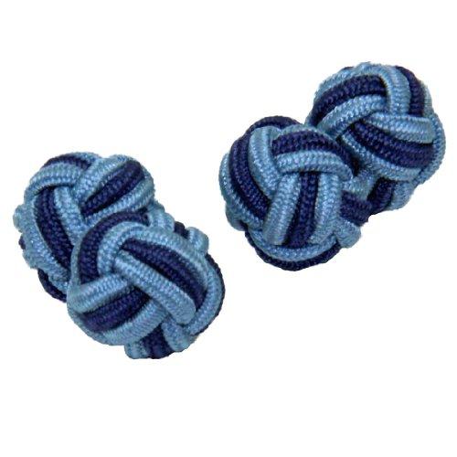 Light Blue & Mid Blue Silk Knot Cufflinks | Cuffs & (Light Blue Knot Cufflink)